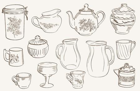 cookware: conjunto de bocetos dispuesto sobre un fondo gris en utensilios de cocina Vectores