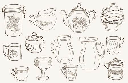 sugarbowl: set of sketches arranged on a gray background on cookware
