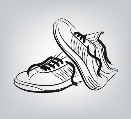 image of a pair of sneakers on gray background Illustration