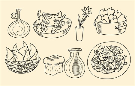 simple rustic dishes from products produced on hunting and gathering Vector