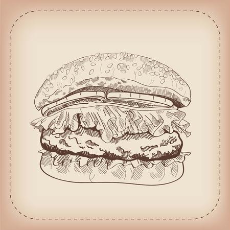 cheeseburger: vector sketch of a hamburger, made by hand