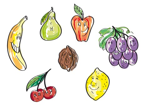 banana sheet: set of vector icons on the theme of fruit Illustration