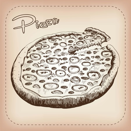 parmesan: vector sketch of a pizza, made by hand Illustration
