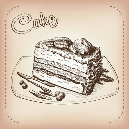torte: vector sketch of a cake, made by hand Illustration