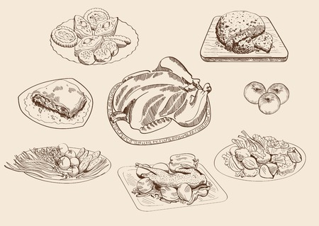 roast chicken: main dishes and ingredients  set of vector sketches