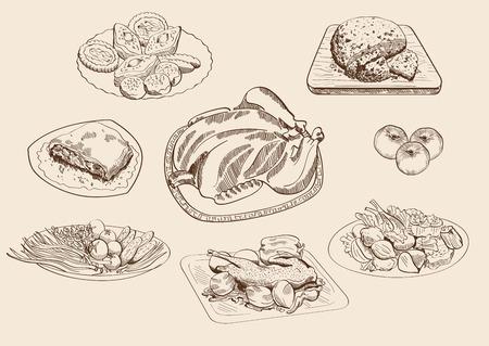main dishes: platos principales y los ingredientes conjunto de bocetos vectoriales Vectores