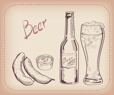 vector schets van een pint bier, met de hand gemaakt