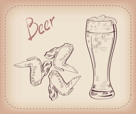 alitas de pollo: dibujo vectorial de una pinta de cerveza, hecho a mano Vectores