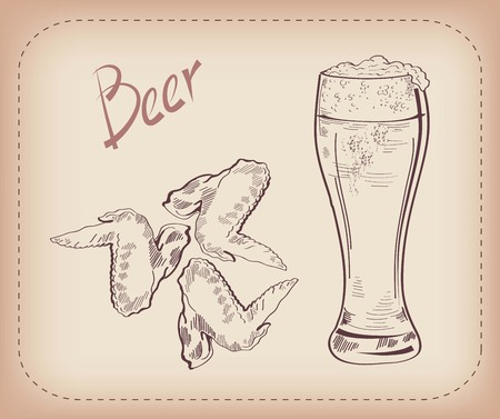chicken wings: vector sketch of a pint of beer, made by hand