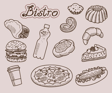 puff pastry: fast food  set of vector sketches  handmade