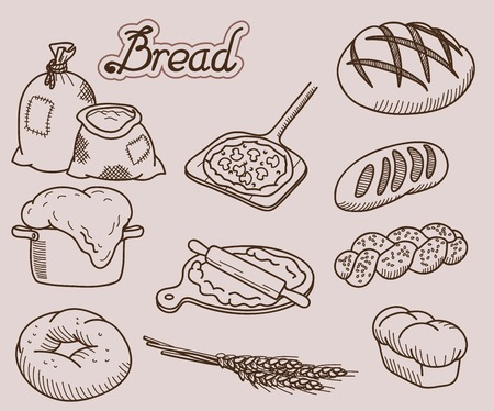 bakery products set of ten vector icons