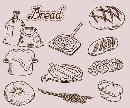produits céréaliers: produits de boulangerie série de dix vector icons