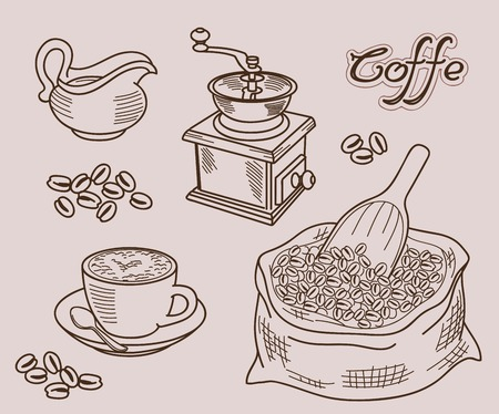 coffee bag: vector set of icons on a coffee theme
