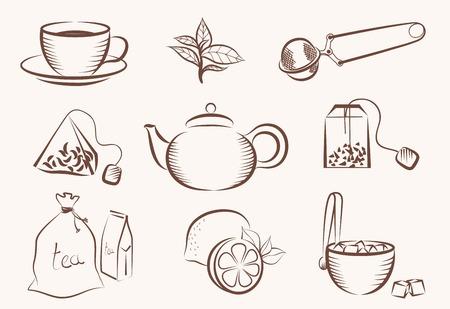 piramide alimenticia: vector conjunto de iconos en un tema de té Vectores