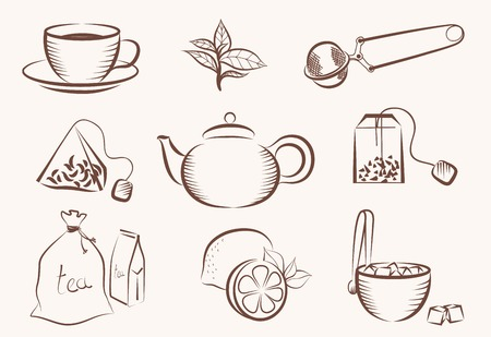 green tea leaf: vector set of icons on a tea theme