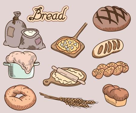 produits céréaliers: produits de boulangerie série de dix icônes vectorielles