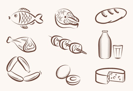ham and cheese: set of vector icons on the theme of food