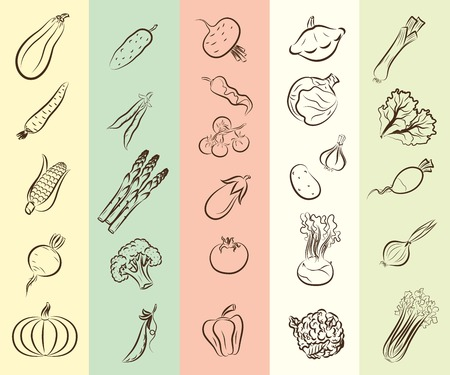gherkin: set of vector icons on the theme of vegetables