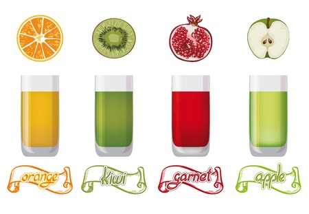 freshly: freshly squeezed juice of four kinds of fruit Illustration