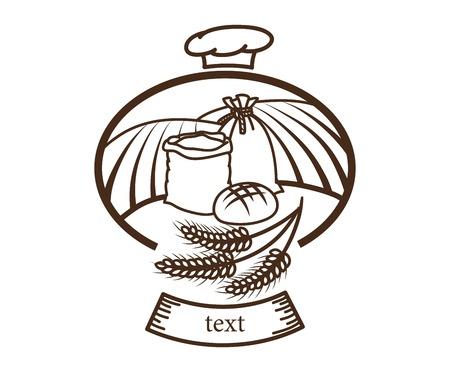 pain frais: agriculture r�colte pain frais logo c�r�ales vecteur