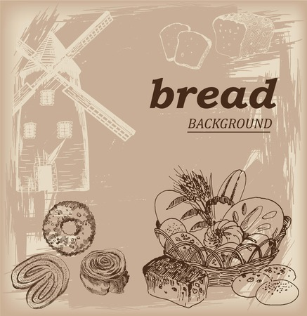 wheaten: vector sketch of bakery products in the basket on a gray background Illustration