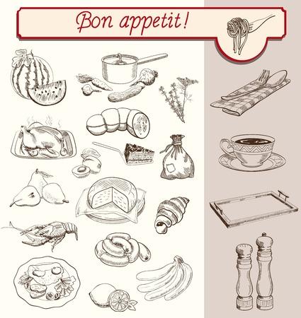 produits alimentaires: boissons alimentaires fruits légumes définir des croquis faits à la main