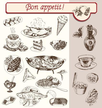semi finished goods: food drinks fruit vegetable set handmade sketches Illustration