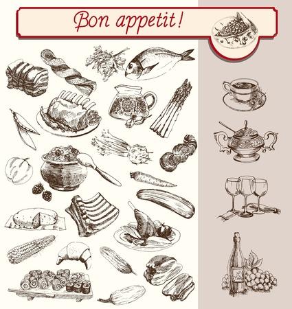 alimentos y bebidas: alimentos bebidas de frutas vegetales establecido bocetos hechos a mano Vectores