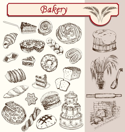 sweet bun: confectionery and pastries handmade sketches set vector