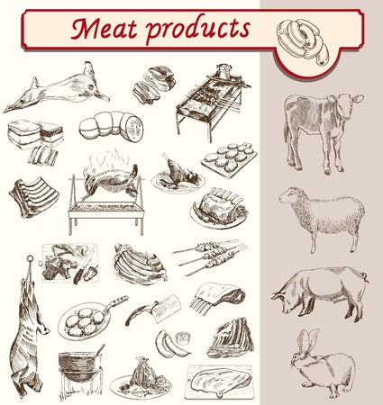 meat knife: meat and meat products animal breeding sketch vector