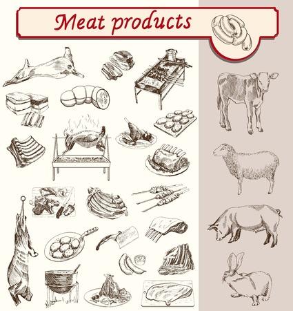 vlees en vleesproducten van dieren fokken schets vector Stock Illustratie