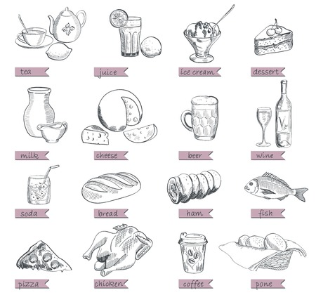 semi finished goods: food alcohol drinks fast food vector sketch Illustration