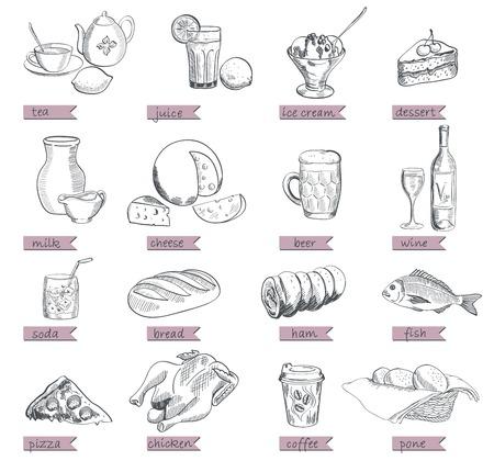 food alcohol drinks fast food vector sketch Ilustrace