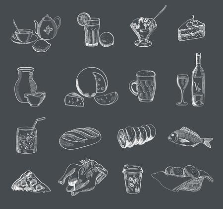 food alcohol drinks fast food vector sketch Vector