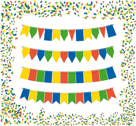 triangle bunting flags color vector holiday background Vector