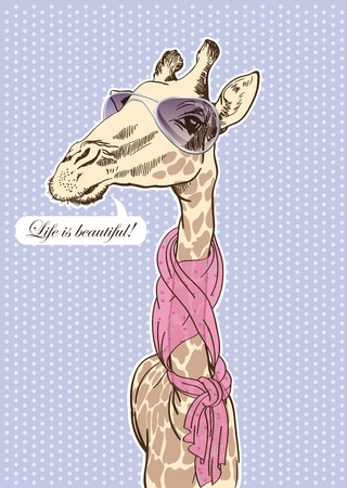 likes: vector sketch of a giraffe who likes to dress fashionably