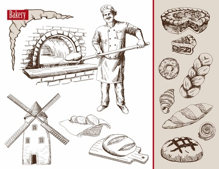 baker prepares bread in a stone oven vector illustration Vectores