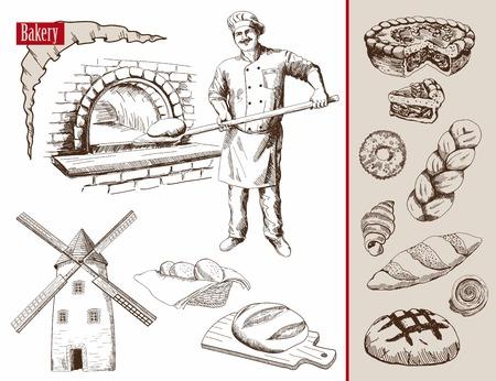 panadero: panadero prepara pan en un horno de piedra ilustración vectorial