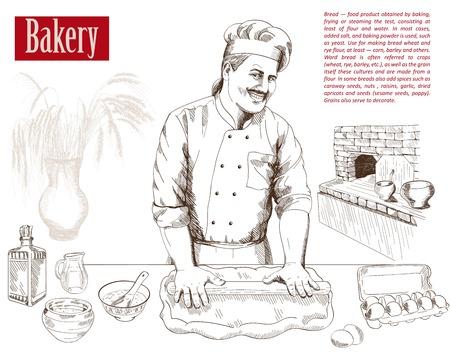 baker prepares bread in a stone oven vector illustration  イラスト・ベクター素材