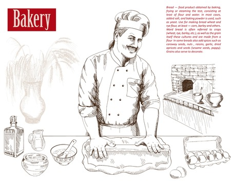baker prepares bread in a stone oven vector illustration Ilustrace
