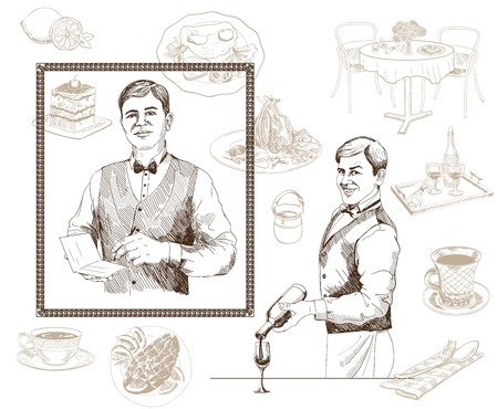 checkout: vector sketch of a waiter who takes the order Illustration