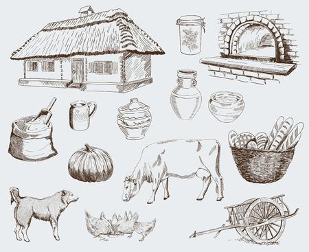 Farm animals sketches objects livestock breeding plants set Vector