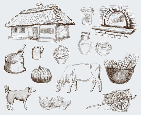 Farm animals sketches objects livestock breeding plants set