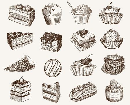 zestaw wektora szkiców słodycze na szarym tle