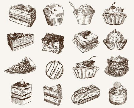 confectionery  set of vector sketches on a gray background Stock Illustratie