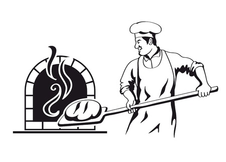 baker: baker prepares bread in a stone oven vector illustration Illustration