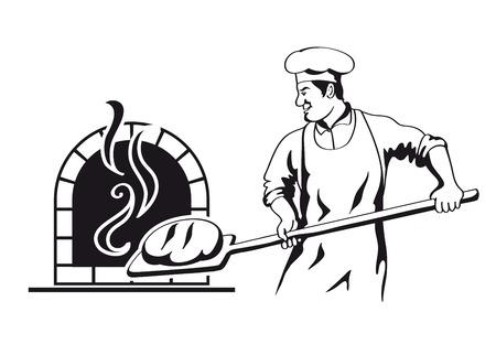 Panadero prepara pan en un horno de piedra ilustración vectorial Foto de archivo - 30829037