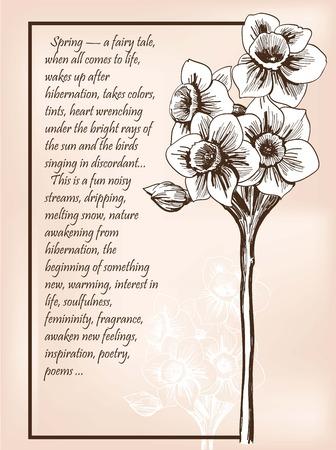 postcard background: postcard spring mood vector sketch background retro Illustration