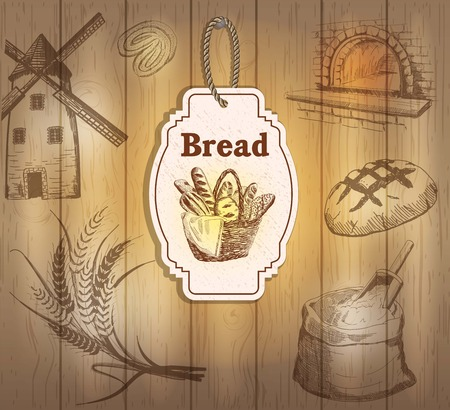 flour mill: Vintage labels bread. Hand drawn illustrations. Wooden background with sketches Illustration