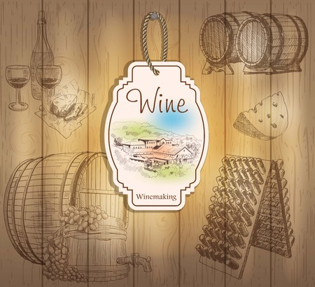 fermenting: Vintage wine labels. Hand drawn illustrations. Wooden background with sketches Illustration